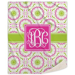 Pink & Green Suzani Sherpa Throw Blanket (Personalized)