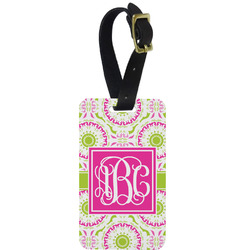 Pink & Green Suzani Aluminum Luggage Tag (Personalized)