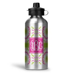 Pink & Green Suzani Water Bottle - Aluminum - 20 oz (Personalized)