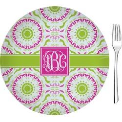 "Pink & Green Suzani Glass Appetizer / Dessert Plates 8"" - Single or Set (Personalized)"