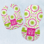 Pink & Green Suzani Baby Bib & Burp Set w/ Monogram