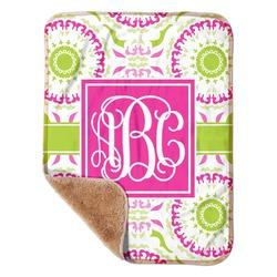"Pink & Green Suzani Sherpa Baby Blanket 30"" x 40"" (Personalized)"