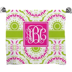 Pink & Green Suzani Full Print Bath Towel (Personalized)