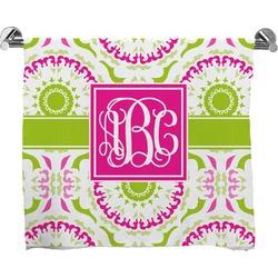 Pink & Green Suzani Full Print Bath Towel (Personalized)