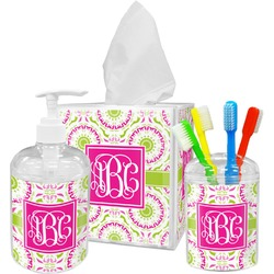 Pink & Green Suzani Bathroom Accessories Set (Personalized)