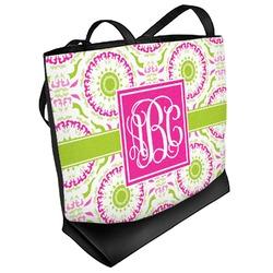 Pink & Green Suzani Beach Tote Bag (Personalized)