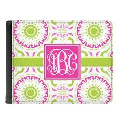 Pink & Green Suzani Genuine Leather Men's Bi-fold Wallet (Personalized)