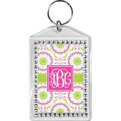 Pink & Green Suzani Bling Keychain (Personalized)