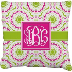Pink & Green Suzani Faux-Linen Throw Pillow (Personalized)
