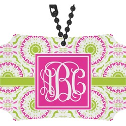 Pink & Green Suzani Rear View Mirror Ornament (Personalized)