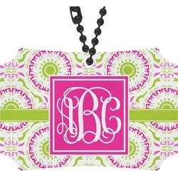 Pink & Green Suzani Rear View Mirror Ornament (Personalized)