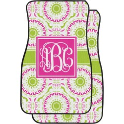 Pink & Green Suzani Car Floor Mats (Front Seat) (Personalized)
