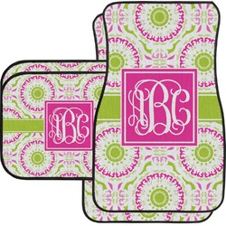 Pink & Green Suzani Car Floor Mats Set - 2 Front & 2 Back (Personalized)