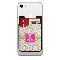 Pink & Green Suzani 2-in-1 Cell Phone Credit Card Holder & Screen Cleaner (Personalized)