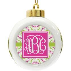 Pink & Green Suzani Ceramic Ball Ornament (Personalized)