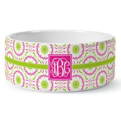 Pink & Green Suzani Ceramic Dog Bowl (Personalized)