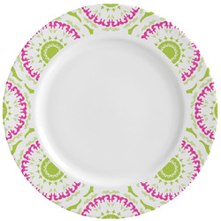 Pink & Green Suzani Ceramic Dinner Plates (Set of 4) (Personalized)