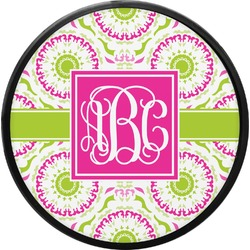 Pink & Green Suzani Round Trailer Hitch Cover (Personalized)