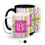 Pink & Green Suzani Coffee Mugs (Personalized)