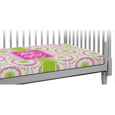 Pink & Green Suzani Crib Fitted Sheet (Personalized)