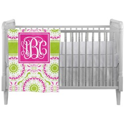 Pink & Green Suzani Crib Comforter / Quilt (Personalized)