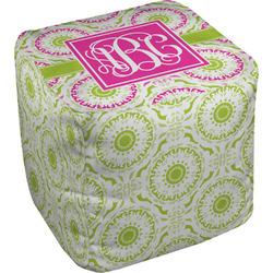 Pink & Green Suzani Cube Pouf Ottoman (Personalized)