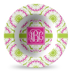 Pink & Green Suzani Plastic Bowl - Microwave Safe - Composite Polymer (Personalized)