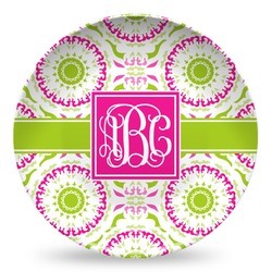 Pink & Green Suzani Microwave Safe Plastic Plate - Composite Polymer (Personalized)