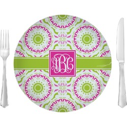 """Pink & Green Suzani Glass Lunch / Dinner Plates 10"""" - Single or Set (Personalized)"""
