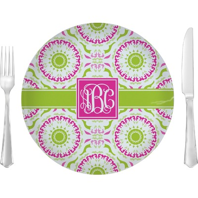 "Pink & Green Suzani 10"" Glass Lunch / Dinner Plates - Single or Set (Personalized)"
