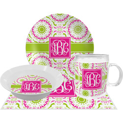Pink & Green Suzani Dinner Set - 4 Pc (Personalized)
