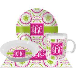 Pink & Green Suzani Dinner Set - Single 4 Pc Setting w/ Monograms