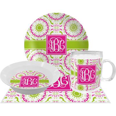 Pink & Green Suzani Dinner Set - 4 Pc (Personalized)