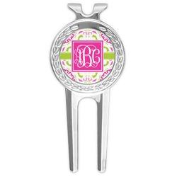 Pink & Green Suzani Golf Divot Tool & Ball Marker (Personalized)