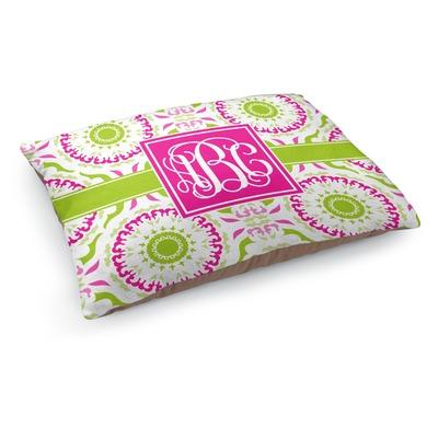 Pink & Green Suzani Dog Bed - Medium w/ Monogram