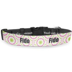 Pink & Green Suzani Deluxe Dog Collar (Personalized)