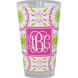 Pink & Green Suzani Drinking / Pint Glass (Personalized)