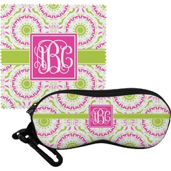 Pink & Green Suzani Eyeglass Case & Cloth (Personalized)