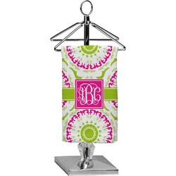 Pink & Green Suzani Finger Tip Towel - Full Print (Personalized)