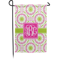 Pink & Green Suzani Garden Flag - Single or Double Sided (Personalized)