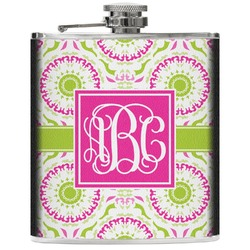 Pink & Green Suzani Genuine Leather Flask (Personalized)