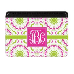 Pink & Green Suzani Genuine Leather Front Pocket Wallet (Personalized)