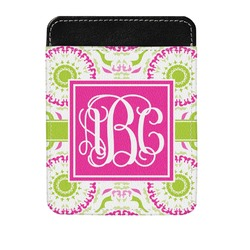 Pink & Green Suzani Genuine Leather Money Clip (Personalized)