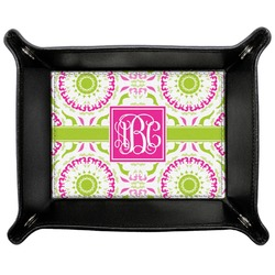 Pink & Green Suzani Genuine Leather Valet Tray (Personalized)