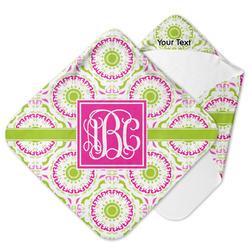 Pink & Green Suzani Hooded Baby Towel w/ Monogram