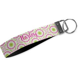 Pink & Green Suzani Wristlet Webbing Keychain Fob (Personalized)