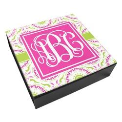 Pink & Green Suzani Leatherette Keepsake Box - 3 Sizes (Personalized)