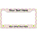 Pink & Green Suzani License Plate Frame - Style B (Personalized)