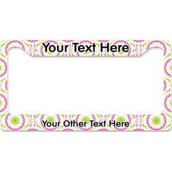 Pink & Green Suzani License Plate Frame (Personalized)