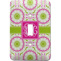 Pink & Green Suzani Light Switch Cover (Single Toggle) (Personalized)